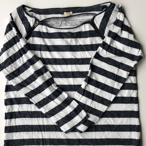 J.Crew Gray and White Striped Shirt, Small